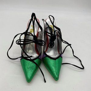 FSJ D'Orsay Strappy Flower High Stiletto Heels Clo